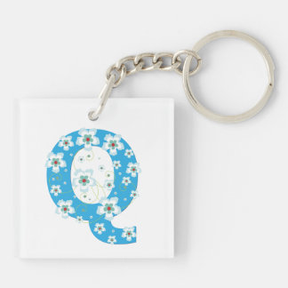 Monogram initial letter Q blue hibiscus flowers Double-Sided Square Acrylic Key Ring