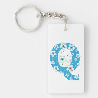 Monogram initial letter Q blue hibiscus flowers Rectangular Acrylic Keychain