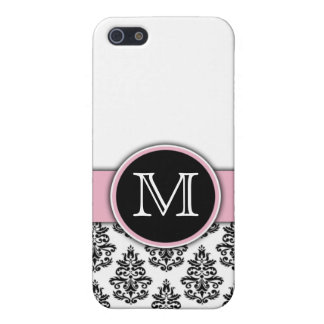 Monogram Initials Elegant Floral Pattern Damask Cover For iPhone 5/5S
