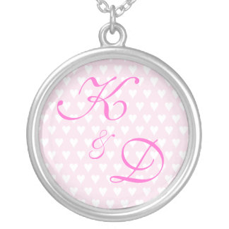 Monogram initials for engagement or wedding round pendant necklace