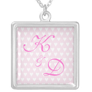 Monogram initials for engagement or wedding square pendant necklace