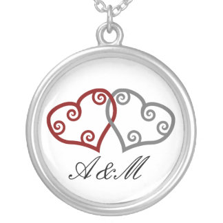 Monogram Intertwined Hearts Silver Plated Necklace