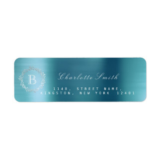 Monogram Laurel Wreath Silver Water Blue RSVP Return Address Label