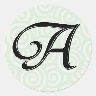 Monogram Letter A Round Stickers