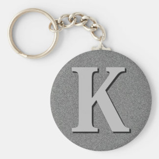 Monogram Letter K Basic Round Button Key Ring