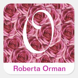 Monogram Letter O Pink Roses Sticker