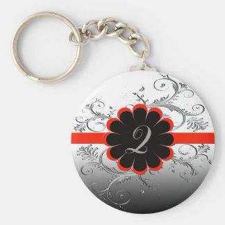 Monogram Letter Q Basic Round Button Key Ring