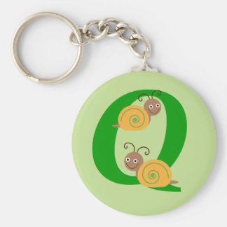 Monogram letter Q brian the snail kids keychain