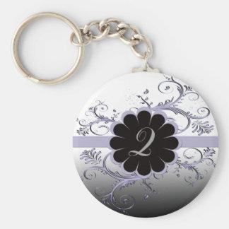 Monogram Letter Q Violet Basic Round Button Key Ring