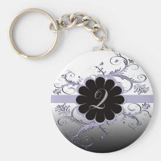 Monogram Letter Q Violet Key Chain
