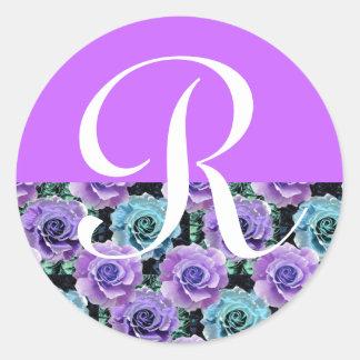 Monogram Letter R Blue Roses Sticker