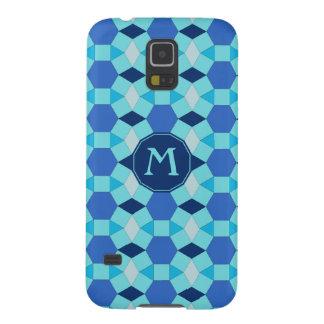 Monogram light dark blue tiles galaxy s5 covers