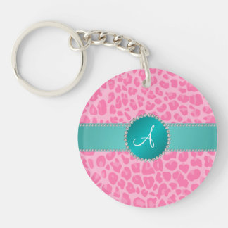 Monogram light pink leopard print turquoise circle keychain