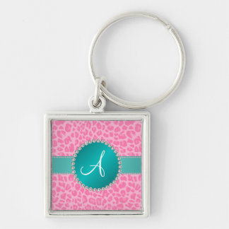 Monogram light pink leopard print turquoise circle key chains