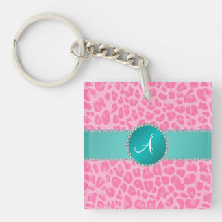 Monogram light pink leopard print turquoise circle square acrylic key chain