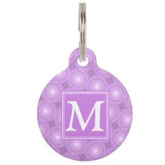 Monogram lilac purple circles pattern pet ID tag