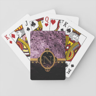 Monogram lilac/violet leather playing cards