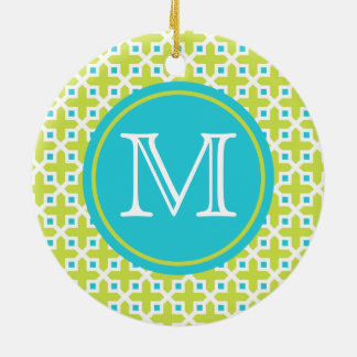 Monogram  Lime and Turquoise Cross Pattern Christmas Ornament