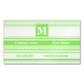 Monogram lime green stripes magnetic business card