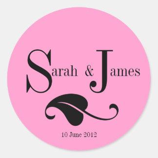 Monogram Logo Names Date Wedding Label Round Sticker