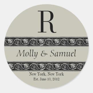 Monogram Logo Ornate Names Date Wedding Label Stickers