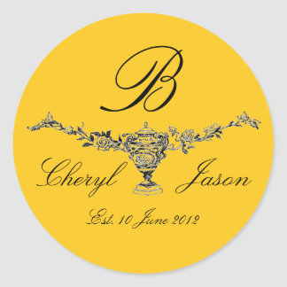 Monogram Logo Roses Names Date Wedding Label Classic Round Sticker