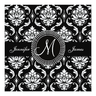 Monogram M Damask Black Wedding Invitations