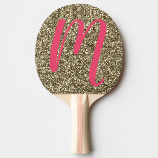 Monogram M Table Tennis Pink Gold Glitter Paddle
