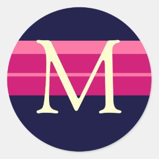 Monogram M Wedding Pink Navy Ivory Stickers