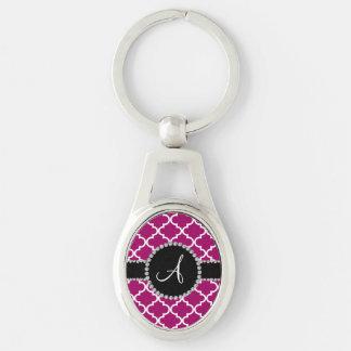 Monogram magenta pink moroccan quatrefoil keychain