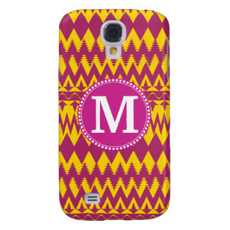 Monogram Magenta Pink Purple Yellow Tribal Pattern Galaxy S4 Case
