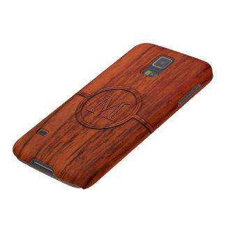 Monogram Mahogany Wood Print Cases For Galaxy S5