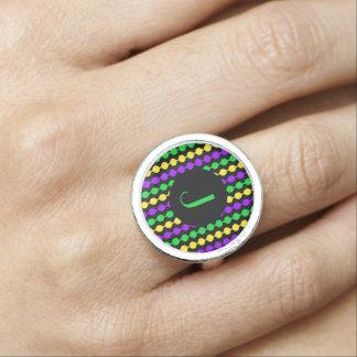 Monogram Mardi Gras Green Yellow Purple Beads