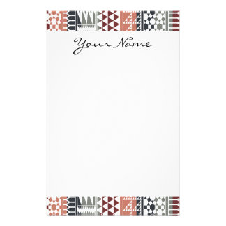 Monogram Maroon Gray Abstract Tribal Print Pattern Stationery