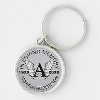 Monogram | Memorial | Silver Angel Wings Key Ring