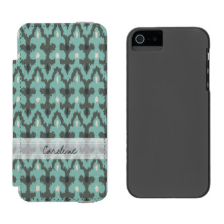 Monogram Mint Gray Geometric Ikat Tribal Pattern Incipio Watson™ iPhone 5 Wallet Case