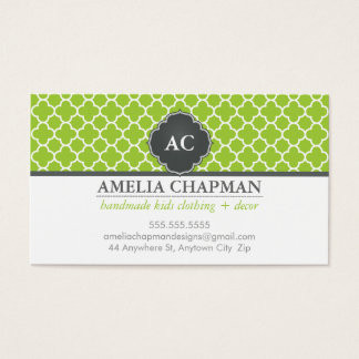 MONOGRAM morrocan tile pattern lime green grey Business Card