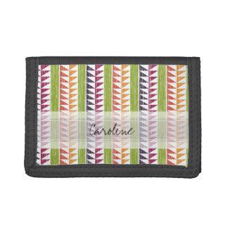 Monogram Multicolor Geometric Ikat Stripes Pattern Trifold Wallet