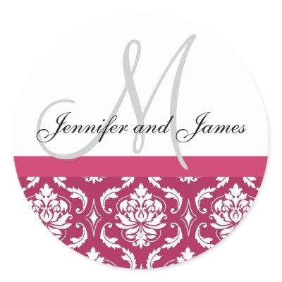 Monogram Names Damask Hot PInk Wedding Sticker by monogramgallery