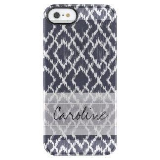 Monogram Navy Blue Tribal Ikat Diamond Pattern Clear iPhone SE/5/5s Case