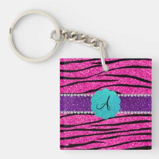 Monogram neon hot pink glitter zebra scallop square acrylic keychain