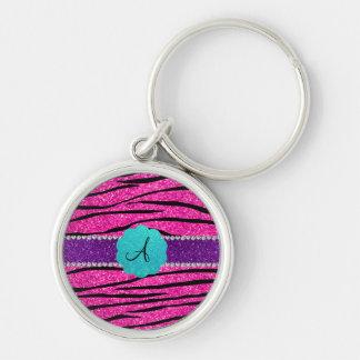 Monogram neon hot pink glitter zebra scallop key chain