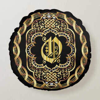 Monogram O IMPORTANT Read About Design Round Cushion