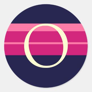 Monogram O Wedding Pink Navy Ivory Stickers