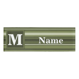 Monogram olive green stripes name tag