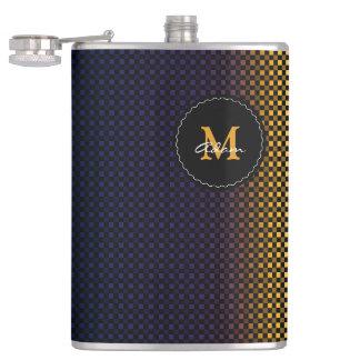 Monogram on pattern hip flask