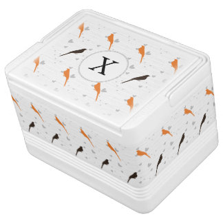 Monogram Orange and Brown birds with hearts Chilly Bin