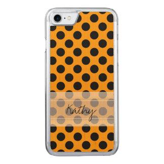 Monogram Orange Black Cute Chic Polka Dot Pattern Carved iPhone 7 Case