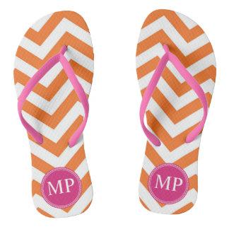 Monogram Orange Fuchsia Chevron Women's Flip Flops