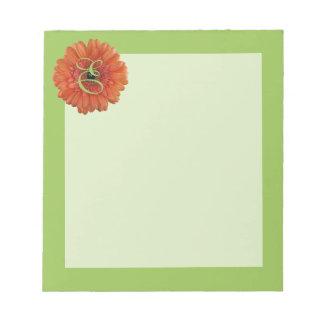 Monogram Orange Gerbera Daisy Green Notepad